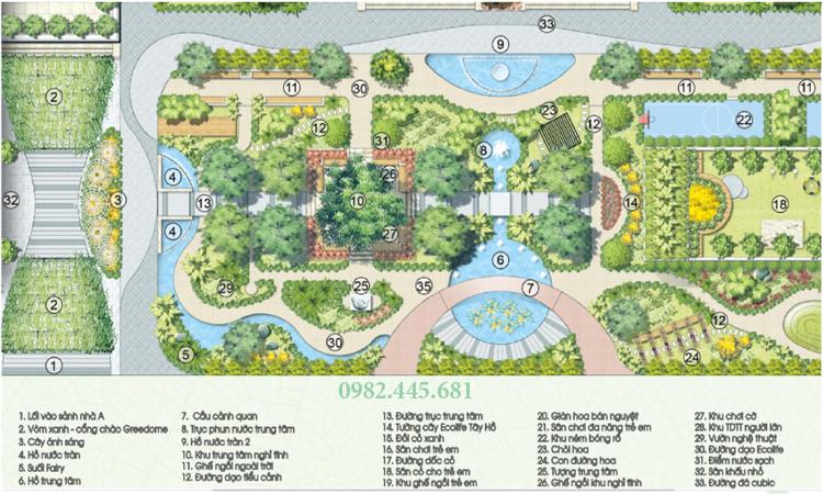 33 Tiện ích sân vườn chung cư Ecolife Tây Hồ