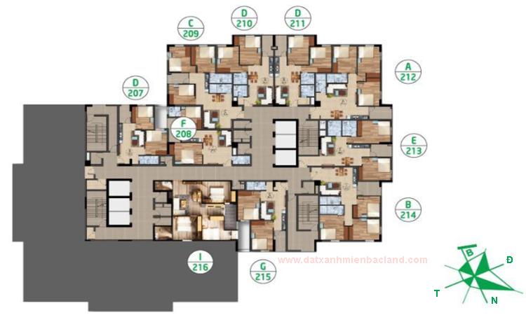 Mặt bằng chung cư Ruby City tầng 12
