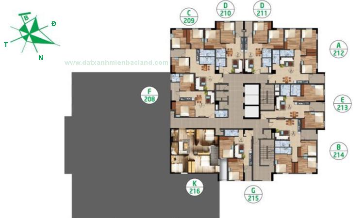 Mặt bằng tầng 12A chung cư Ruby City 2
