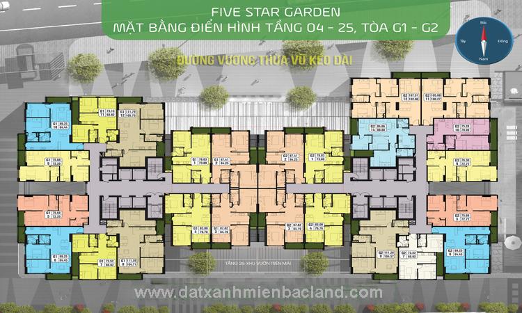 Mặt bằng tòa G1 - G2 chung cư Five Star Garden Kim Giang