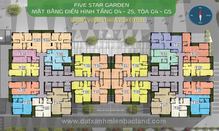 Mặt bằng tòa G4 - G5 chung cư Five Star Garden