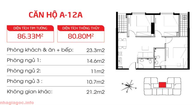 Căn hộ 80.80m2 ba phòng ngủ