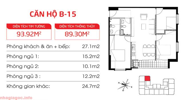 Căn hộ 89.30m2 ba phòng ngủ