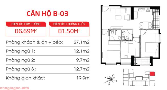 Căn hộ 81.50m2 ba phòng ngủ