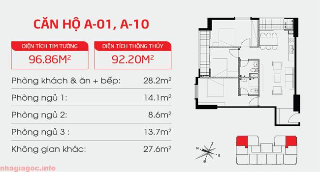 Căn hộ 92.20m2 ba phòng ngủ