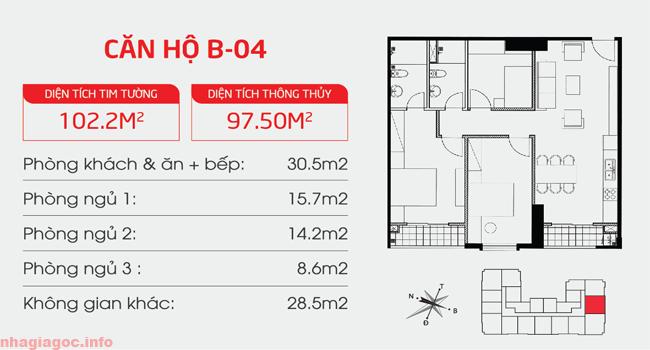 Căn hộ 97.50m2 ba phòng ngủ