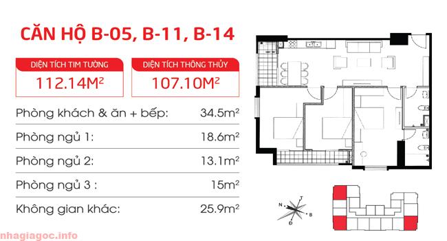 Căn hộ 107.10m2 ba phòng ngủ