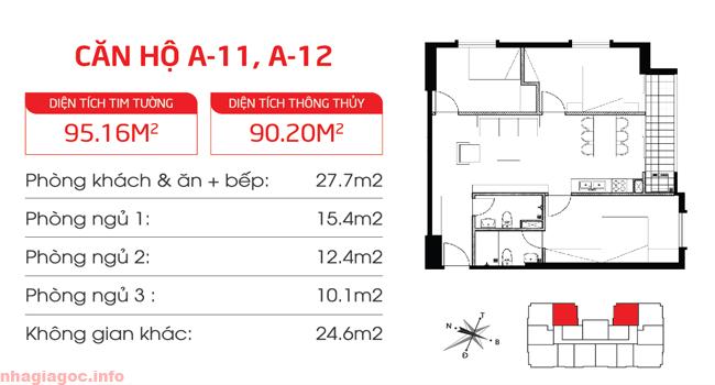Căn hộ 90.20m2 ba phòng ngủ