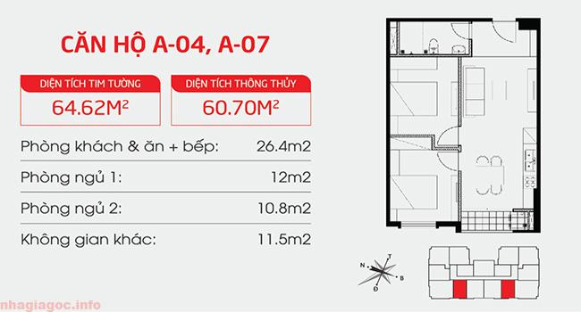 Căn hộ 60.70m2 hai phòng ngủ