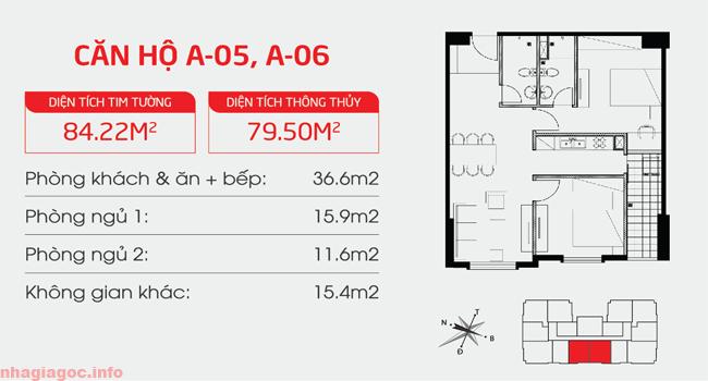 Căn hộ 79.50m2 hai phòng ngủ