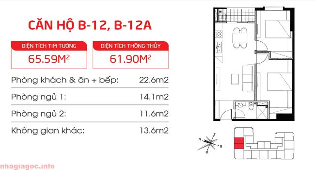 Căn hộ 61.90m2 hai phòng ngủ