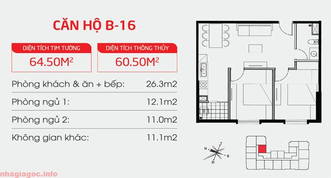 Căn hộ 60.50m2 hai phòng ngủ