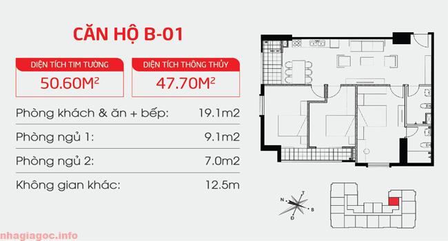 Căn hộ 47.70m2 hai phòng ngủ