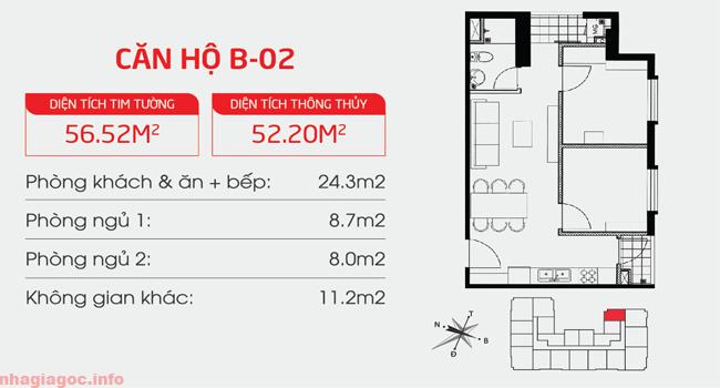 Căn hộ 52.20m2 hai phòng ngủ