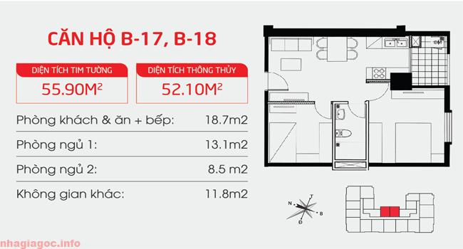 Căn hộ 51.10m2 hai phòng ngủ