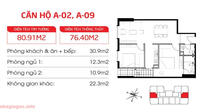 Căn hộ 76.40m2 hai phòng ngủ