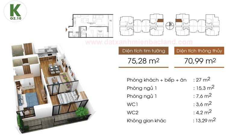 Thiết kế căn hộ K - G2 Five Star Garden Kim Giang