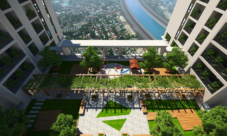 Vườn cây xanh mát trên tầng 25 chung cư Five Star Garden Kim Giang