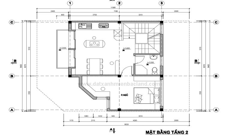 Thiết kế tầng 2 Liền kề Xuân Đỉnh