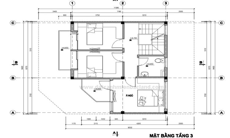 Thiết kế tầng 3 Liền kề Xuân Đỉnh