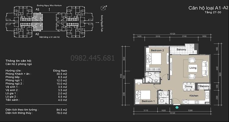 Chung cư 109 Nuyễn Tuân căn A1-A2 tầng 27-30