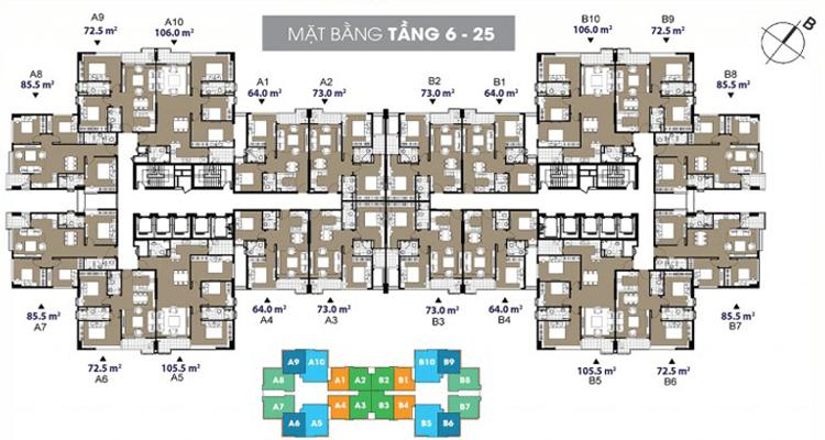 Mặt bằng chung cư 109 Nguyễn Tuân tầng 6 -25