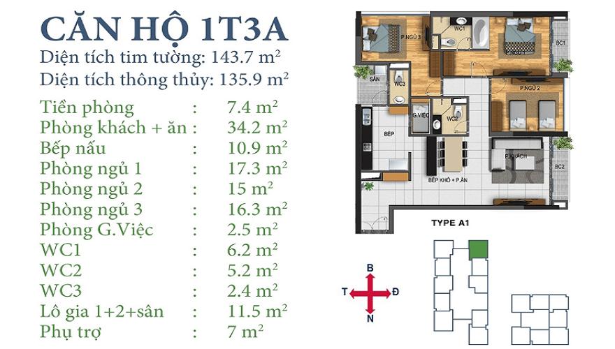Căn 01T3A chung cư Horizon Tower Ngoại Giao Đoàn