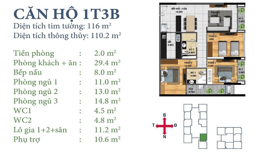 Căn 1T3B Chung cư Horizon Tower Ngoại Giao Đoàn