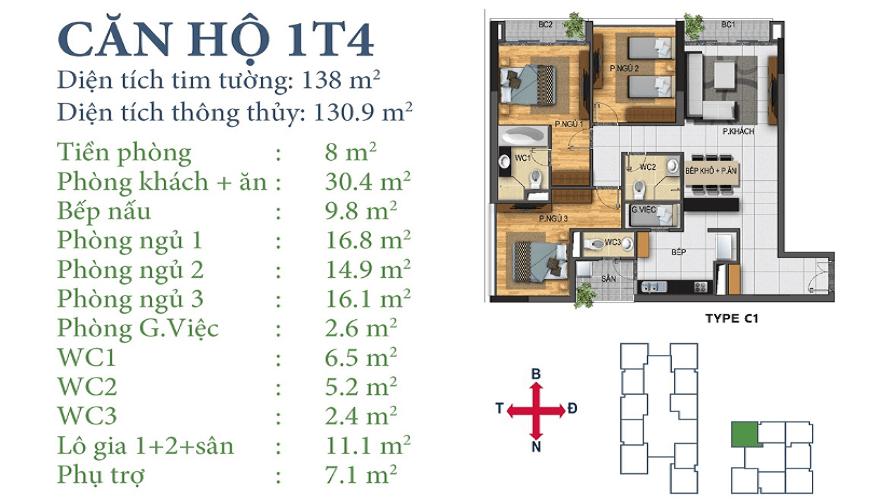 Căn 01T4 Chung cư Horizon Tower Ngoại Giao Đoàn