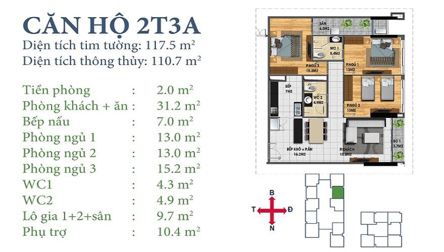 Căn 2T3A Chung cư Horizon Tower Ngoại Giao Đoàn