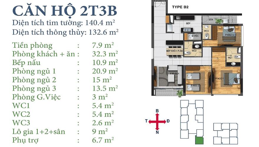 Căn 2T3B Chung cư Ngoại Giao Đoàn Horizon Tower