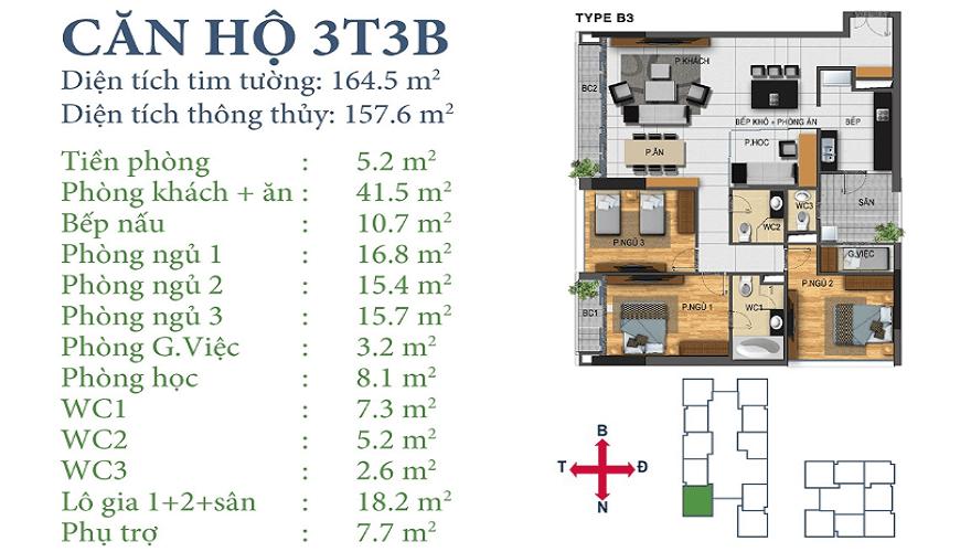 Căn 3T3B Chung cư Horizon Tower Ngoại Giao Đoàn