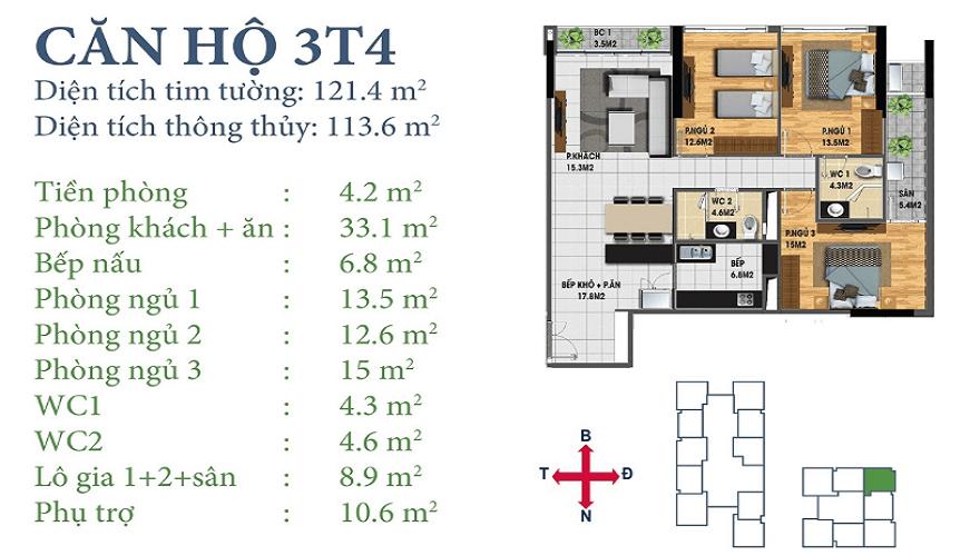 Căn 3T4 Horizon Tower N03-T3&T4 Ngoại Giao Đoàn