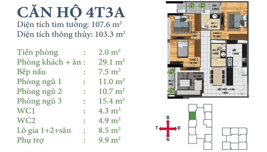 Căn 4T3A Horizon Tower Ngoại Giao Đoàn