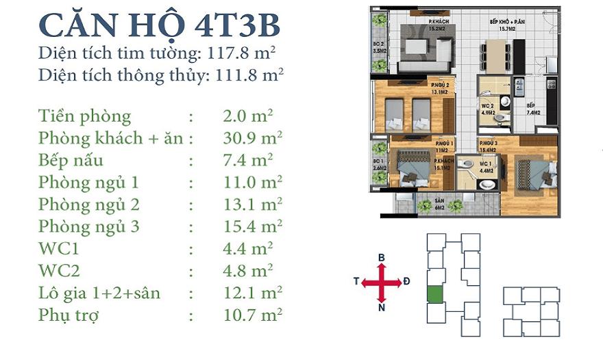 Căn 4T3B Horizon Tower N03-T3&T4 Ngoại Giao Đoàn