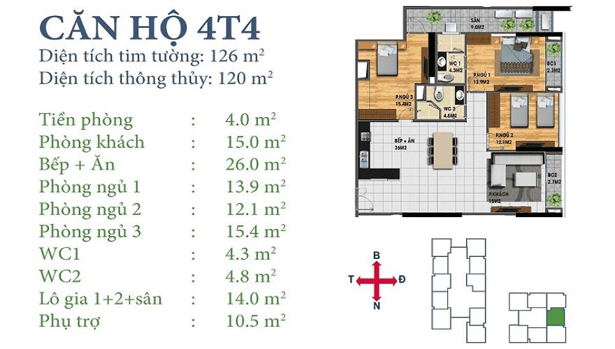 Căn 4T4 Chung cư Horizon Tower Ngoại Giao Đoàn