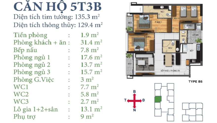 Căn 5T3TB Horizon Tower Ngoại Giao Đoàn