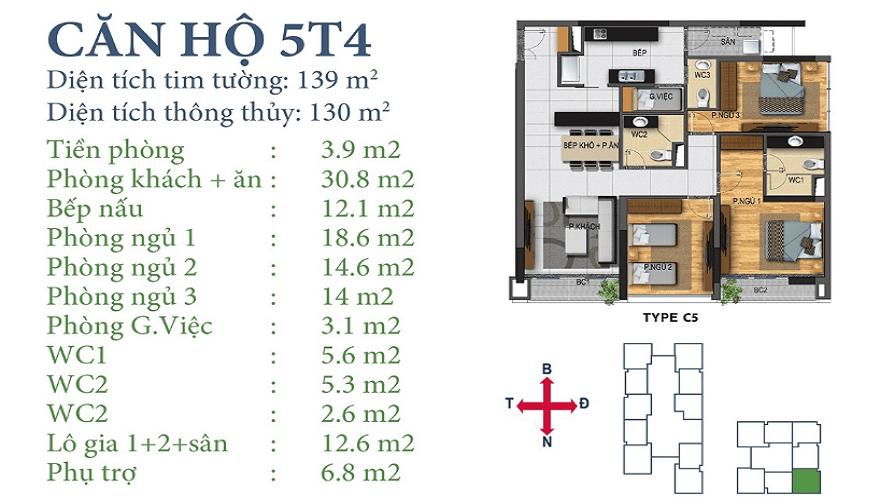 Căn 5T4 dự án Horizon Tower