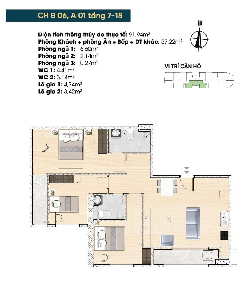 căn hộ 91m2 dự án tây hồ river view