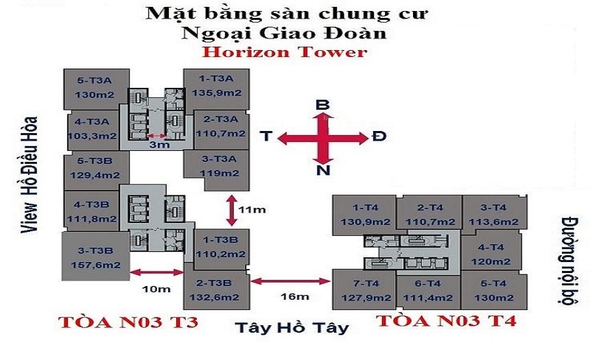 Mặt bằng chung cư Horizon Tower Ngoại Giao Đoàn