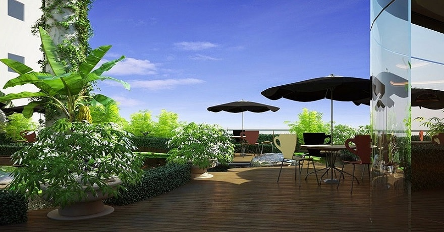 khu cafe garden trên tầng 7 flc green home