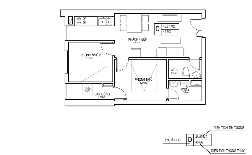 Thiết kế căn 46m2 FLC 18 Phạm Hùng