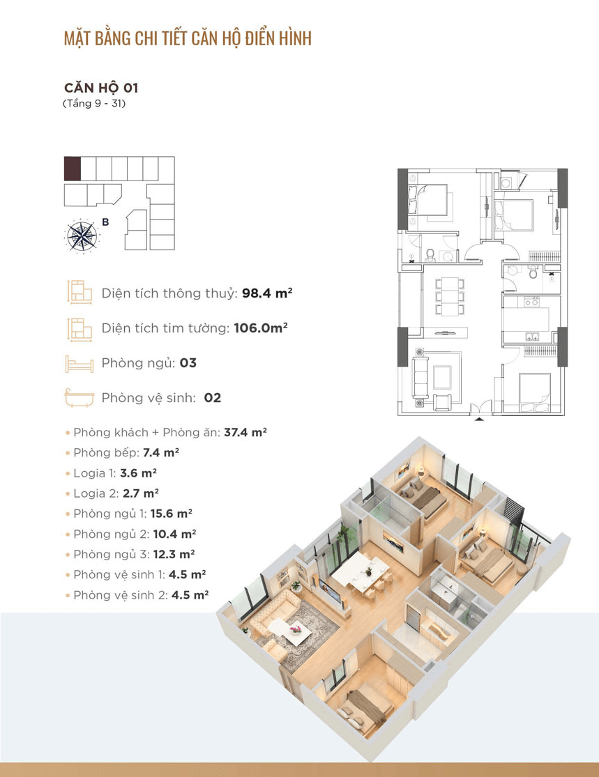 thiết kế căn hộ 01 dự án golden park tower