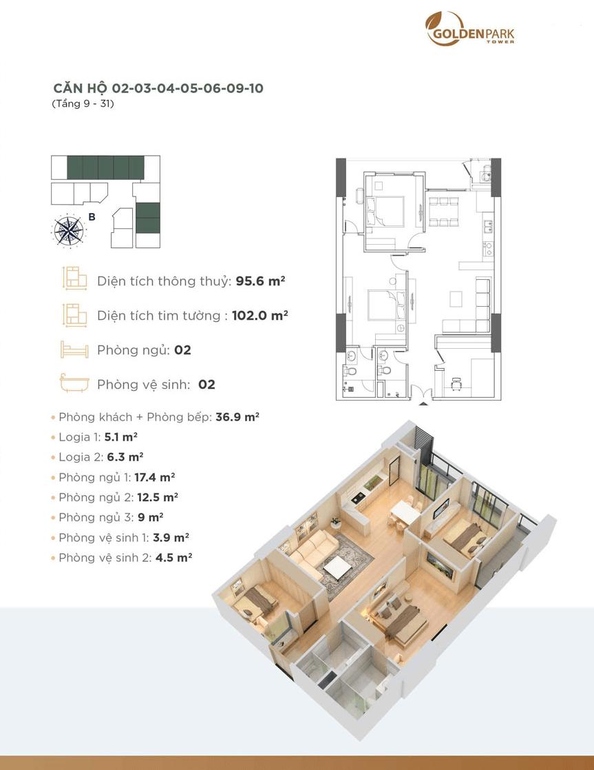 thiết kế căn hộ 02 dự án golden park