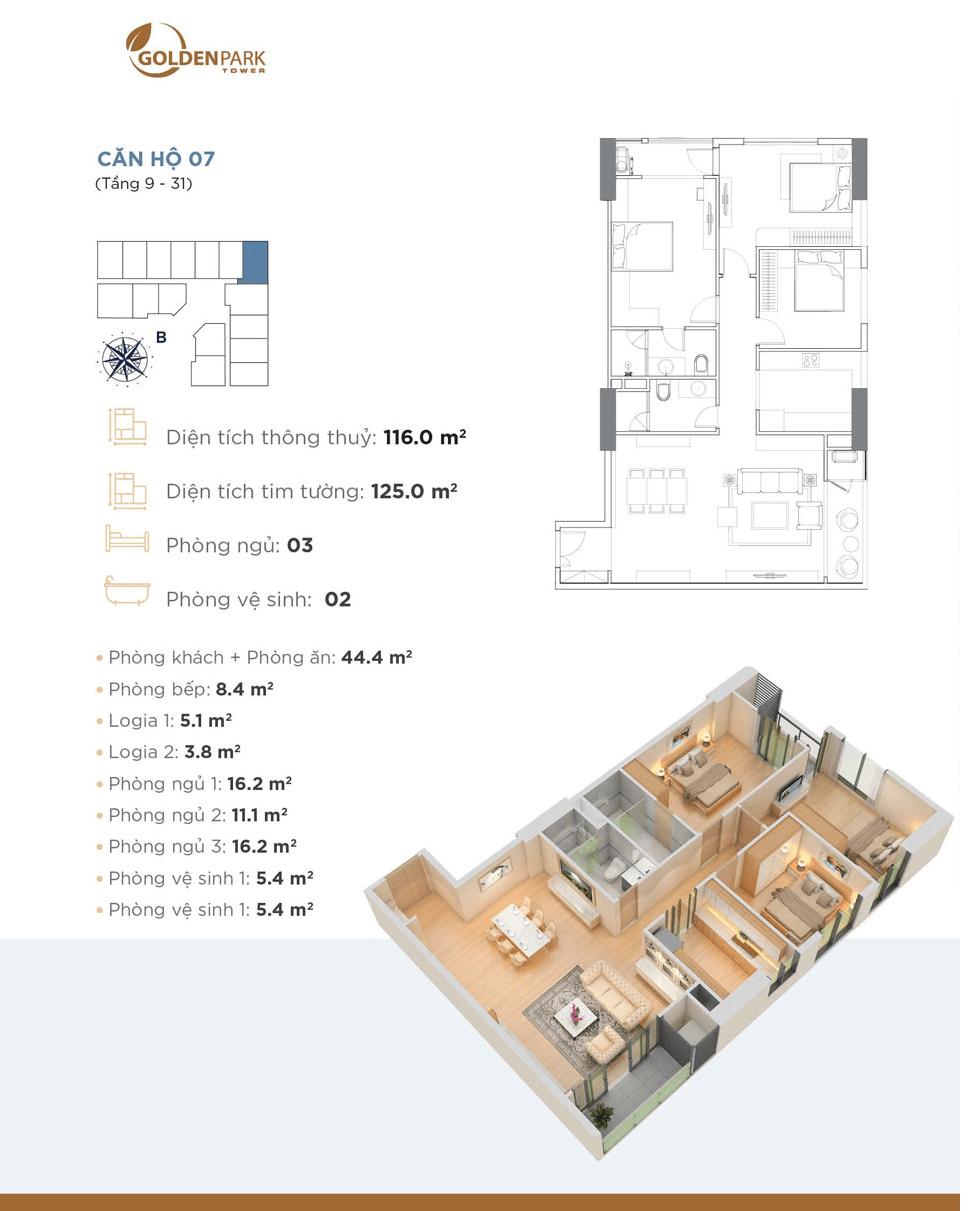 thiết kế căn 07 chung cư golden park