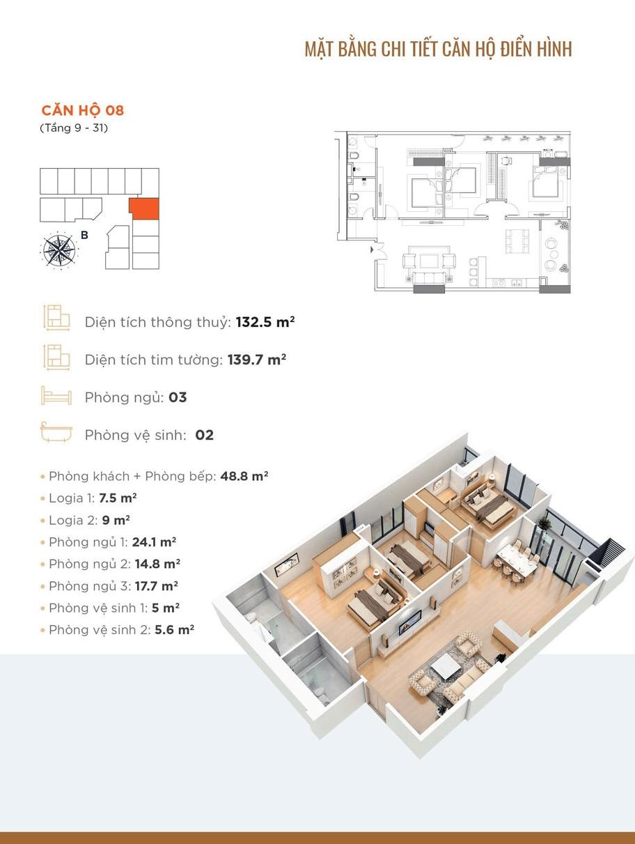 thiết kế căn hộ 08 chung cư golden park