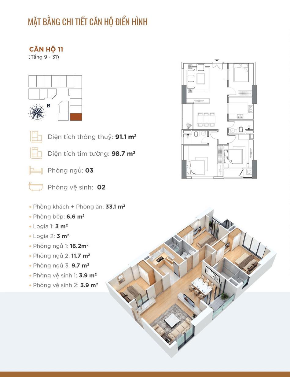 thiết kế căn hộ 11 chung cư golden park