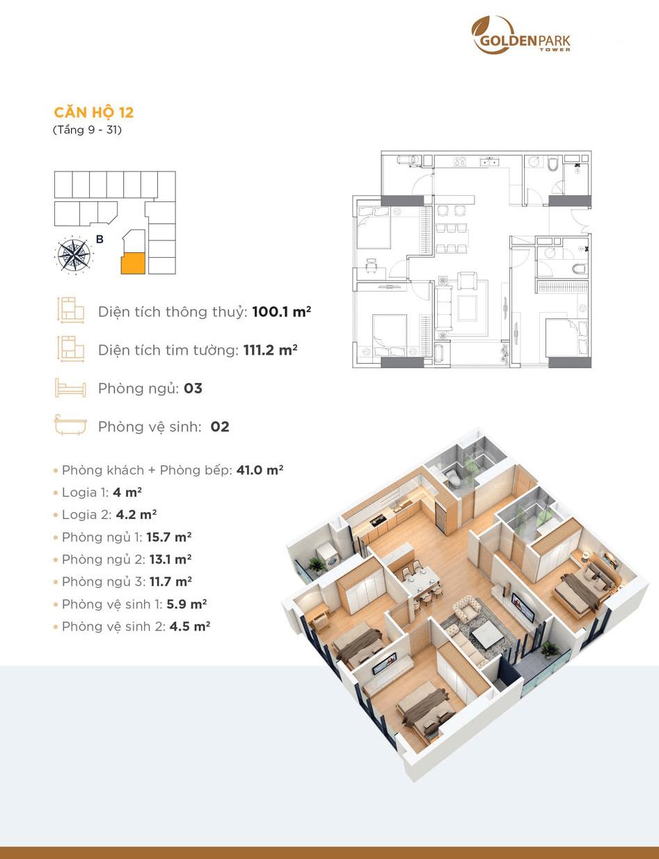 thiết kế căn 12 chung cư golden park