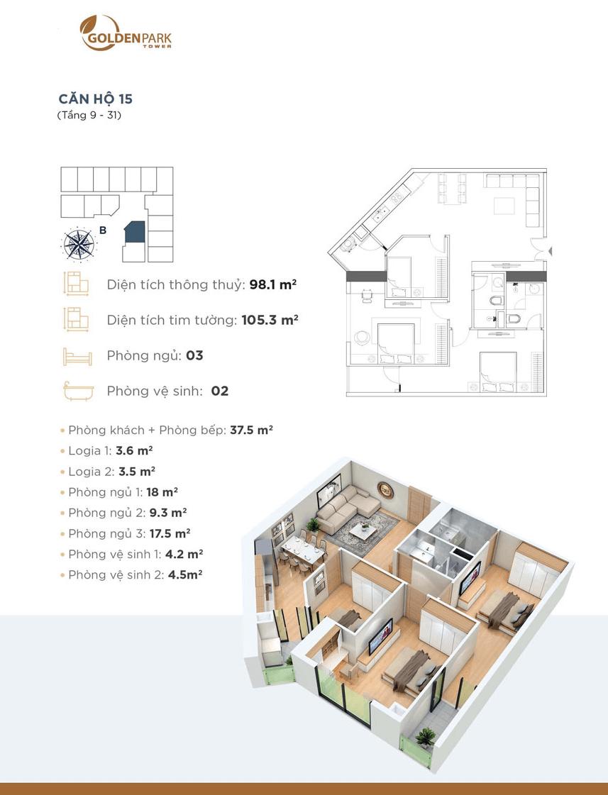 thiết kế căn 15 chung cư golden park