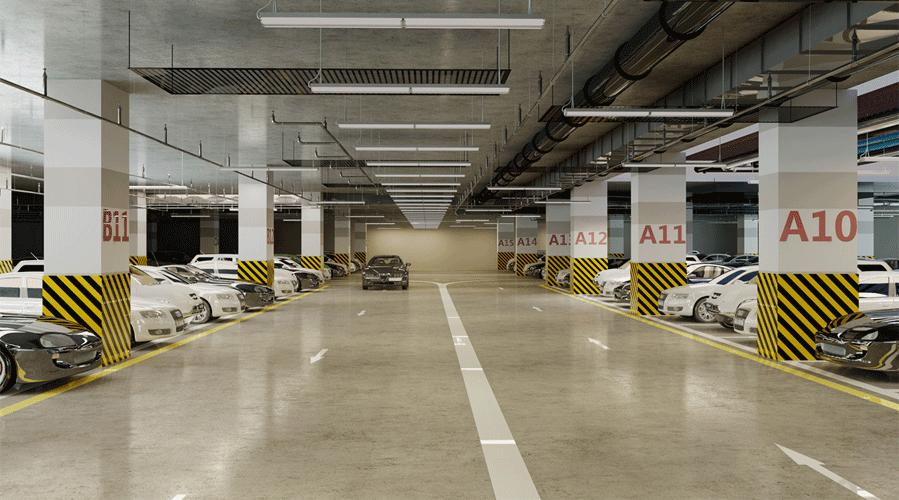 tầng hầm để xe chung cư golden park